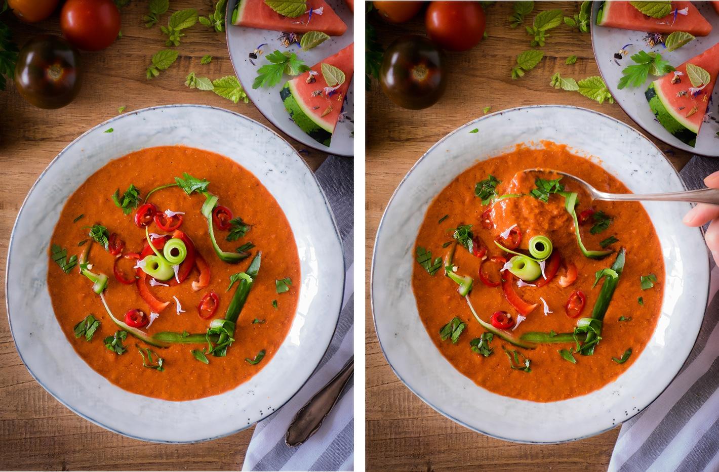 Wassermelonen Gazpacho mit Chia Samen