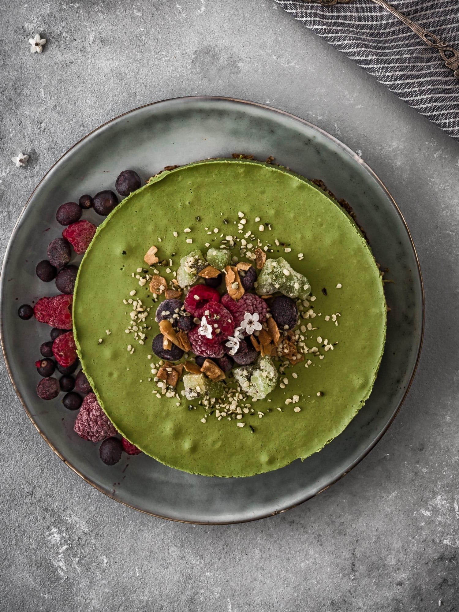 Weizengras Green Smoothie Rawcake