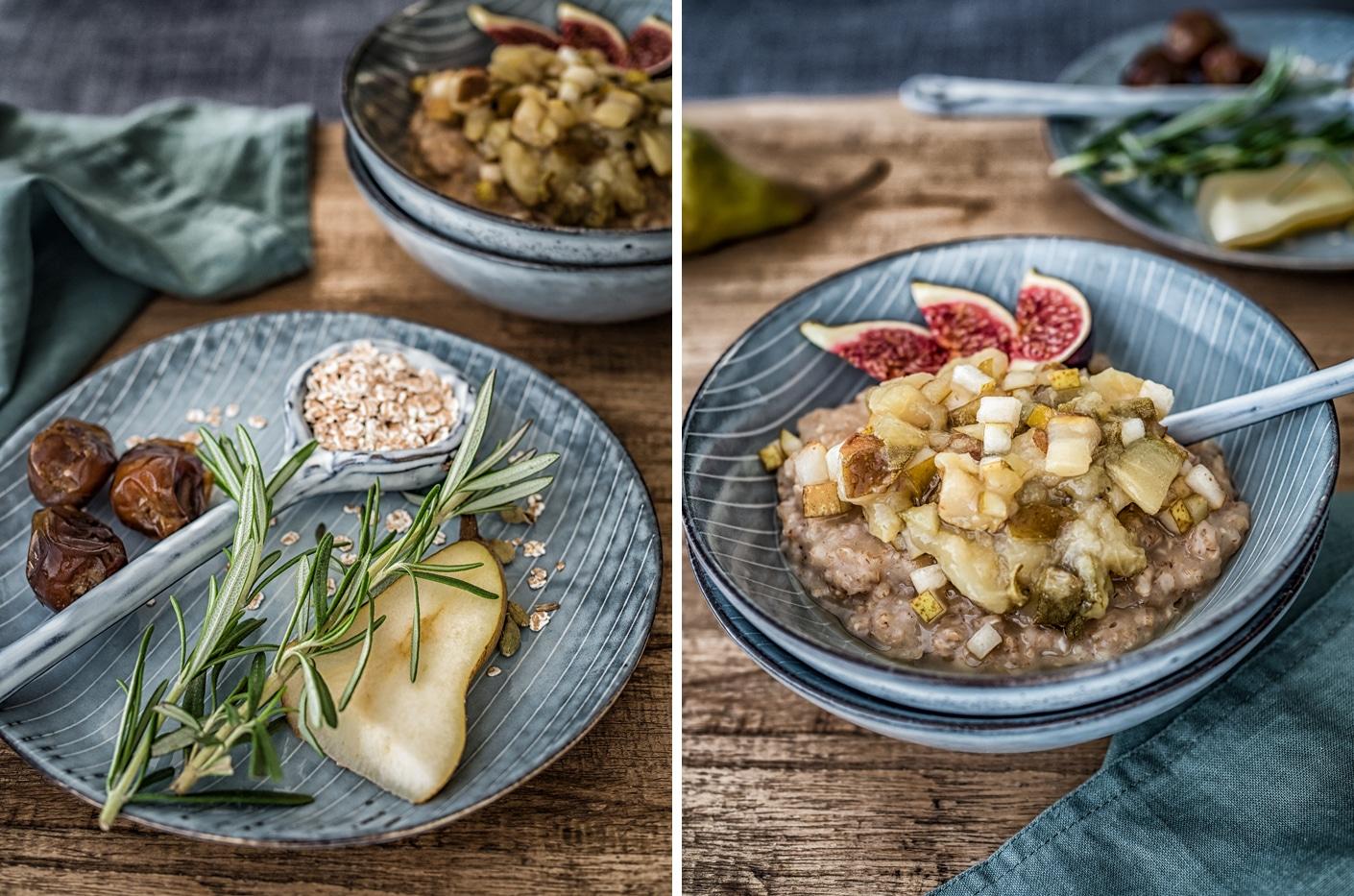 Dinkel Porridge mit Birnen-Rosmarin Kompott
