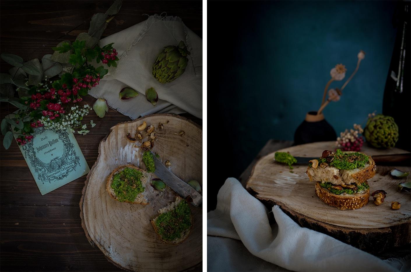 veganes grünkohl pesto mit Artischocke und Koriander