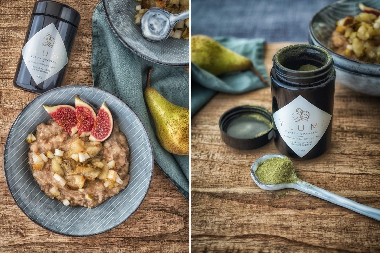 Dinkel Porridge mit Birnen-Rosmarin Kompott und Ylumi