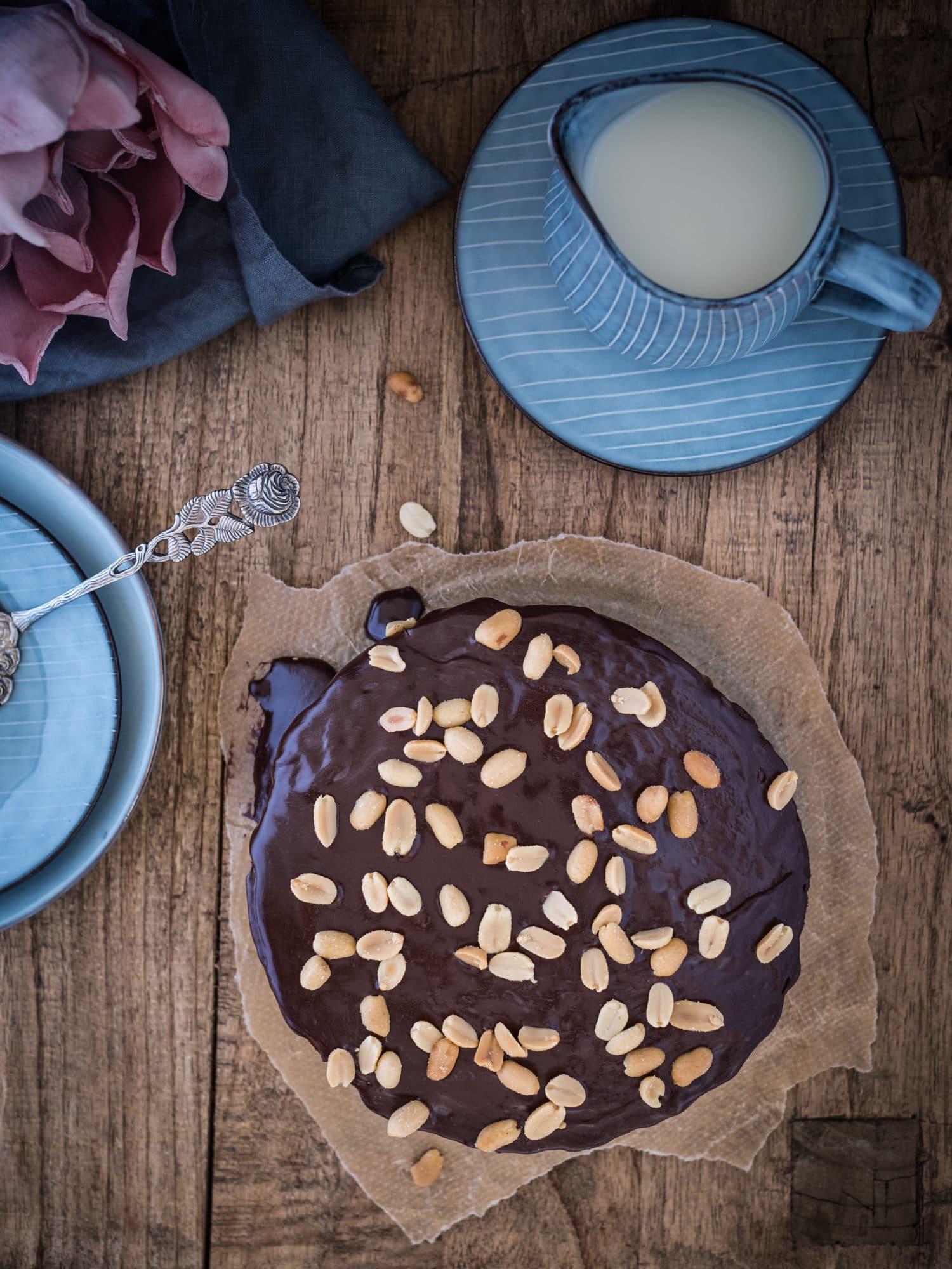 No Bake Erdnussbutter Frischkäse Kuchen. Veganes, glutenfreies Rezept