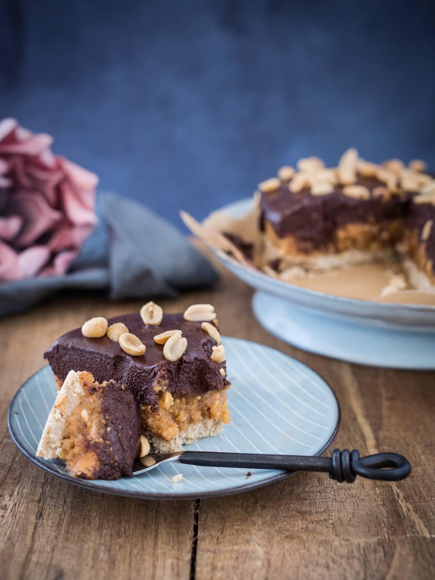 Vegan und auf Wunsch glutenfrei :No Bake Erdnussbutter Frischkäse Kuchen
