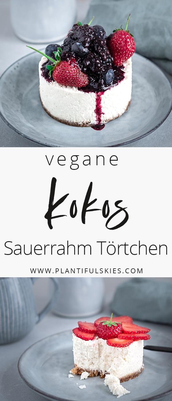 Vegane Sauerrahm Törtchen mit Kokos und frischen Beeren
