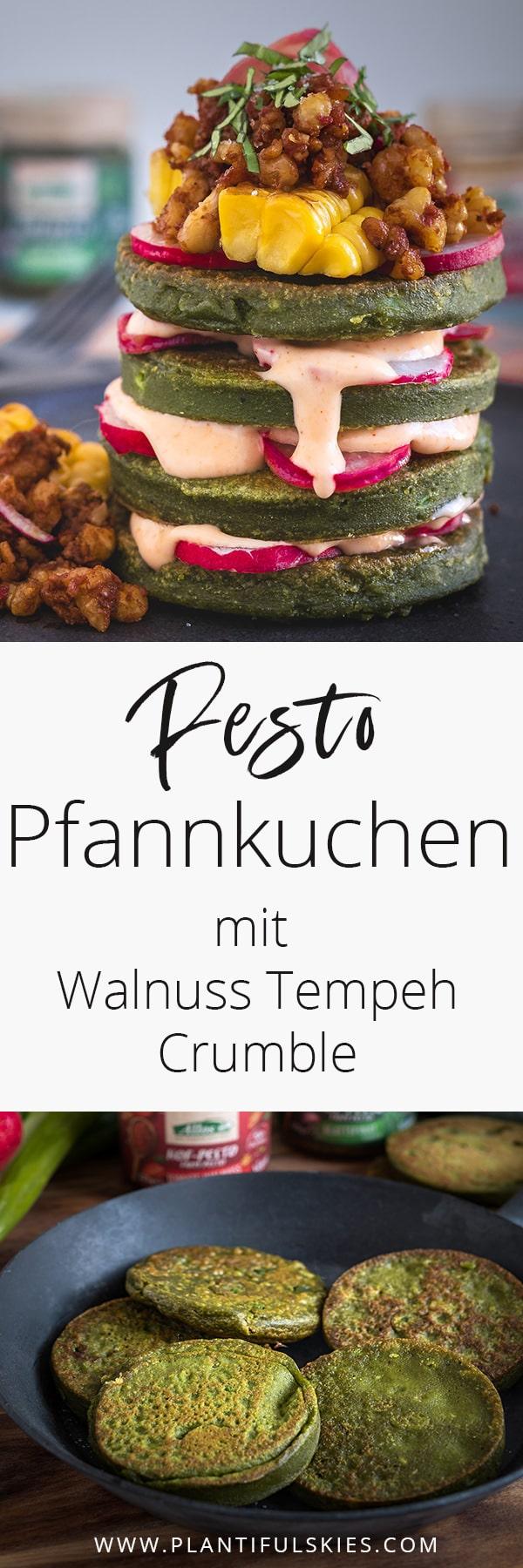 Vegane Pesto Pfannkuchen mit Tempeh Walnuss Crumble -glutenfrei-