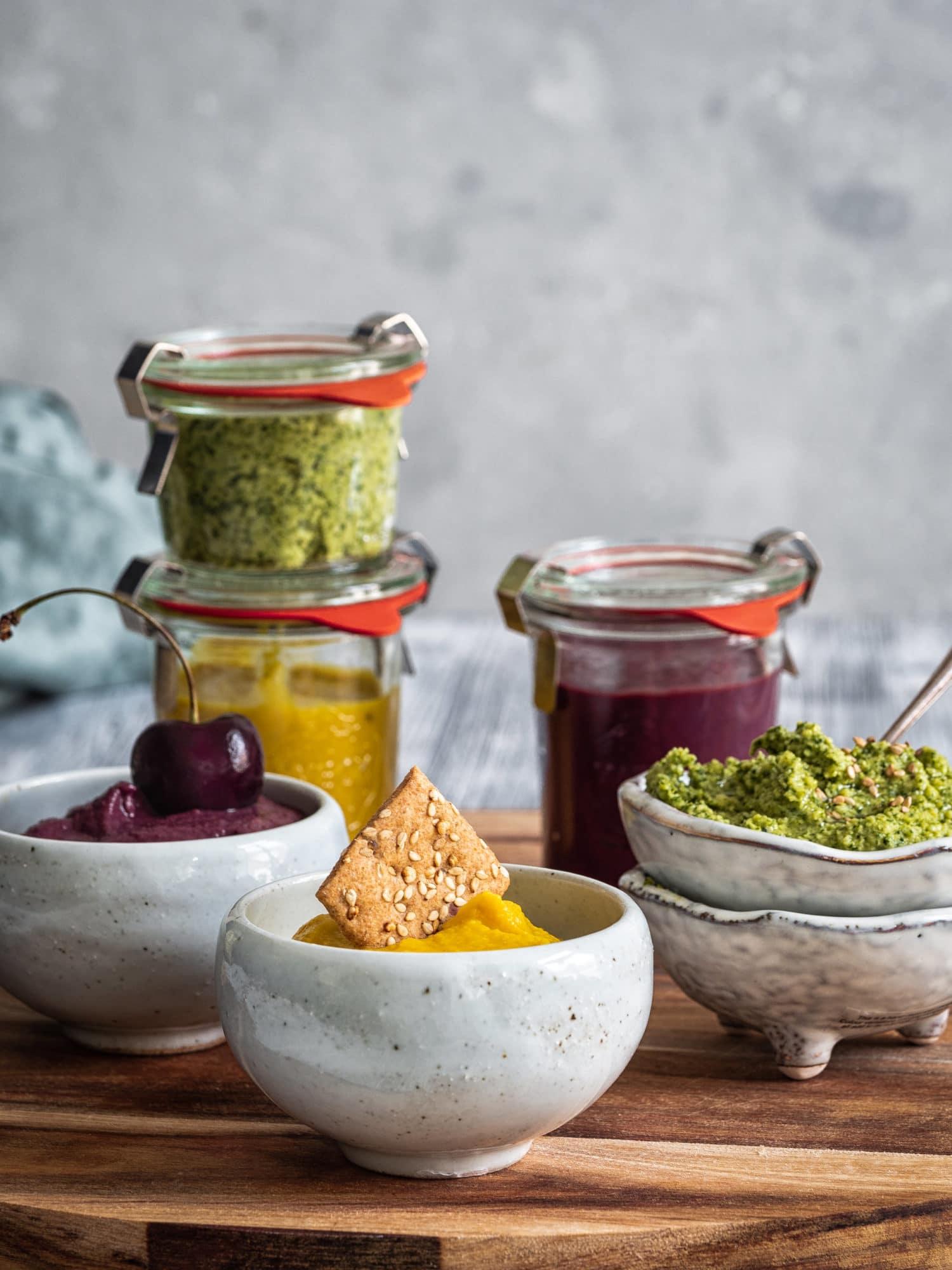 Drei tolle vegane Dip Rezepte für unterwegs.