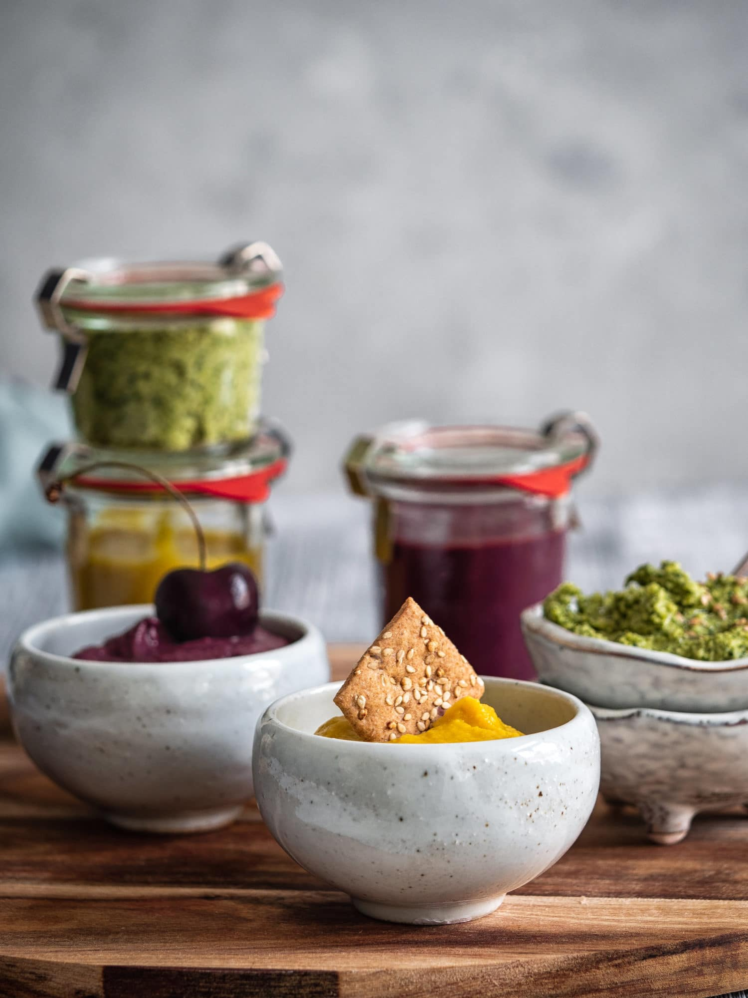 Drei tolle Dip Rezepte für unterwegs, zuhause, zum Grillen. Vegane Rezepte
