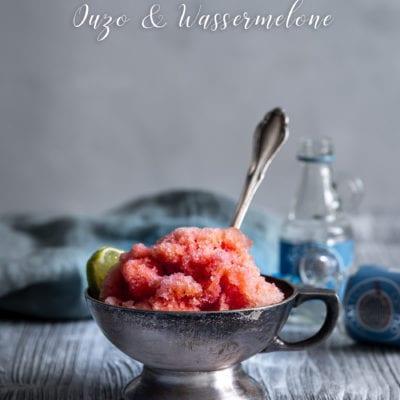 Ouzo Sorbet mit Wassermelone