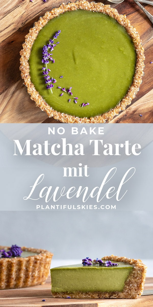 No Bake Matcha Lavendel Tarte