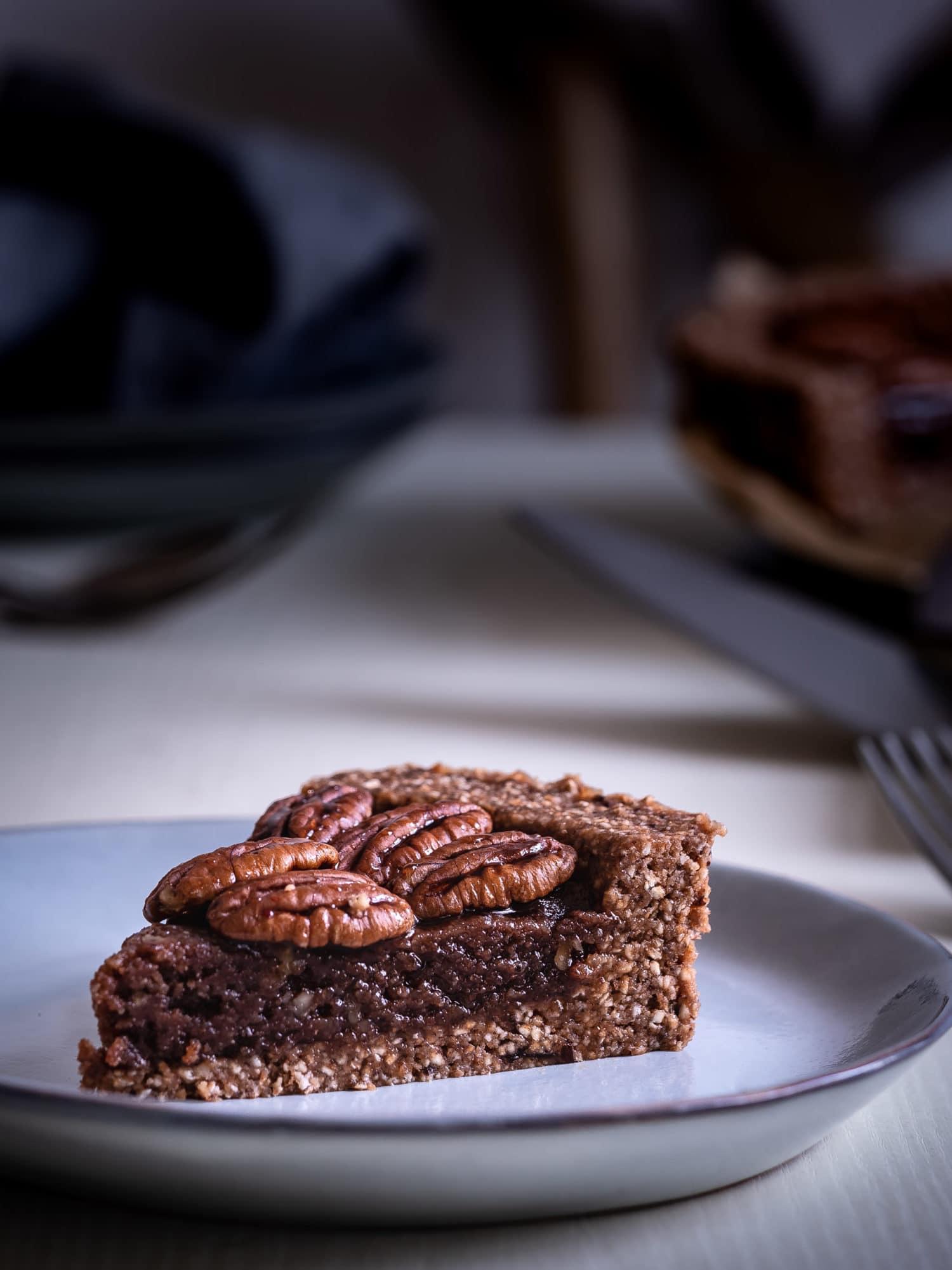 Pekan Nusskuchen Rezept ohne Mehl. Ganzer Kuchen