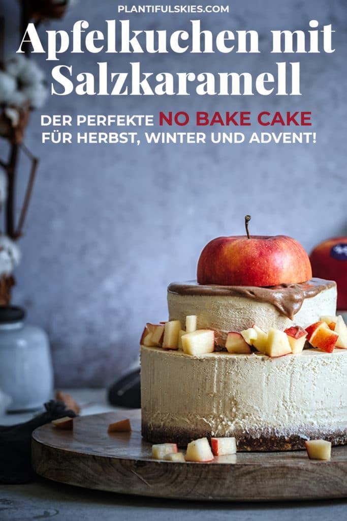 Kuchen ohne Backen mit Salzkaramell und ganz Viel Äpfeln. Einfach, schnell, gesund. Tolles veganes Rezept. Zuckerfrei und Glutenfrei. #happymoodfood #apfelkuchen #weihnachtsrezepte