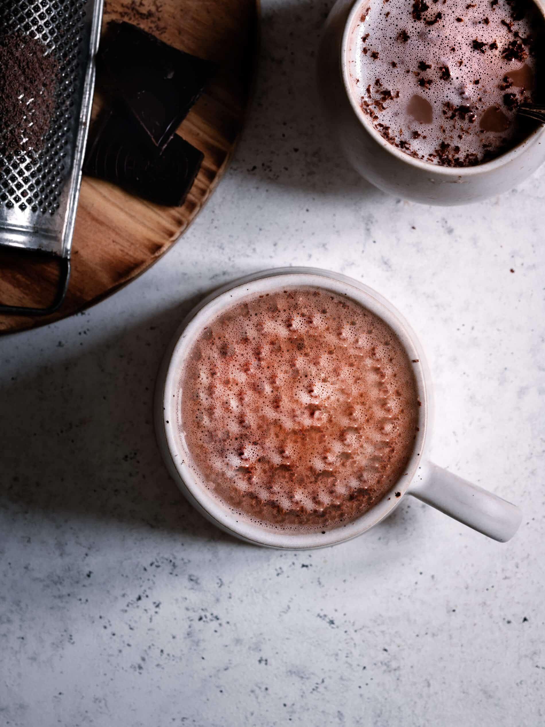 Reishi Schokolade in Tasse von oben