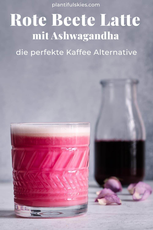 Rezept für Rote Beete Latte mit Ashwagandha. Perfekte Kaffee Alternative. Gut gegen Stress. Kräftigt und stärkt Körper und Seele #happymoodfood #ayurveda #rotebeete #beetroot