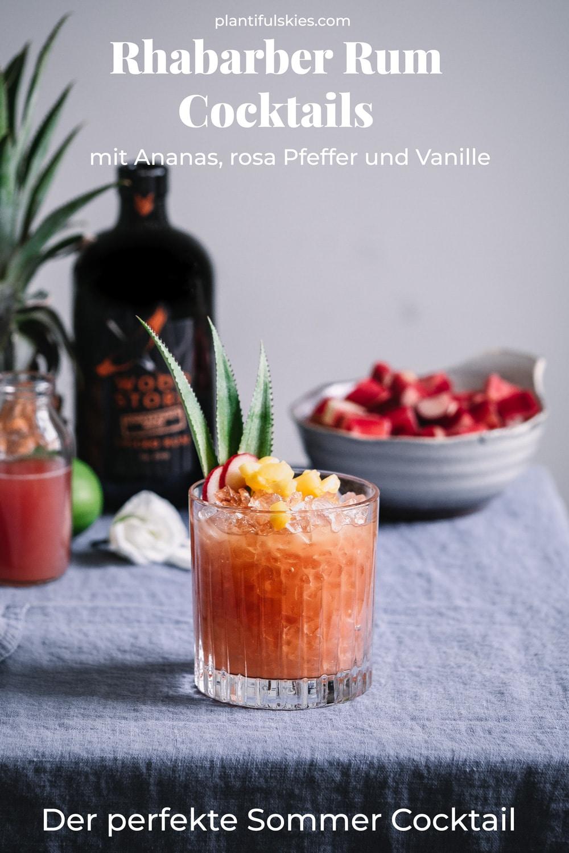 Sommer Cocktail Rezept. Rum Cocktail. Perfekt für die Sommerparty, Grillen und co. Tolles Sommer Rezept mit Rhabarber.