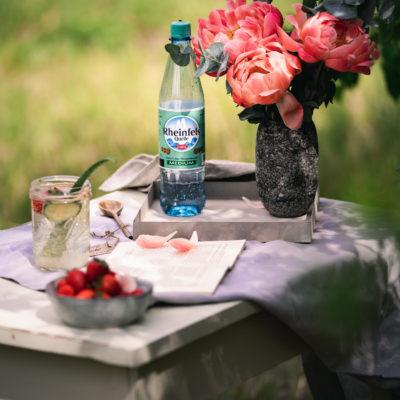 Der Rheinfels Quelle Sommer Drink: Aloe Vera Saft, Erdbeeren und Mineralwasser