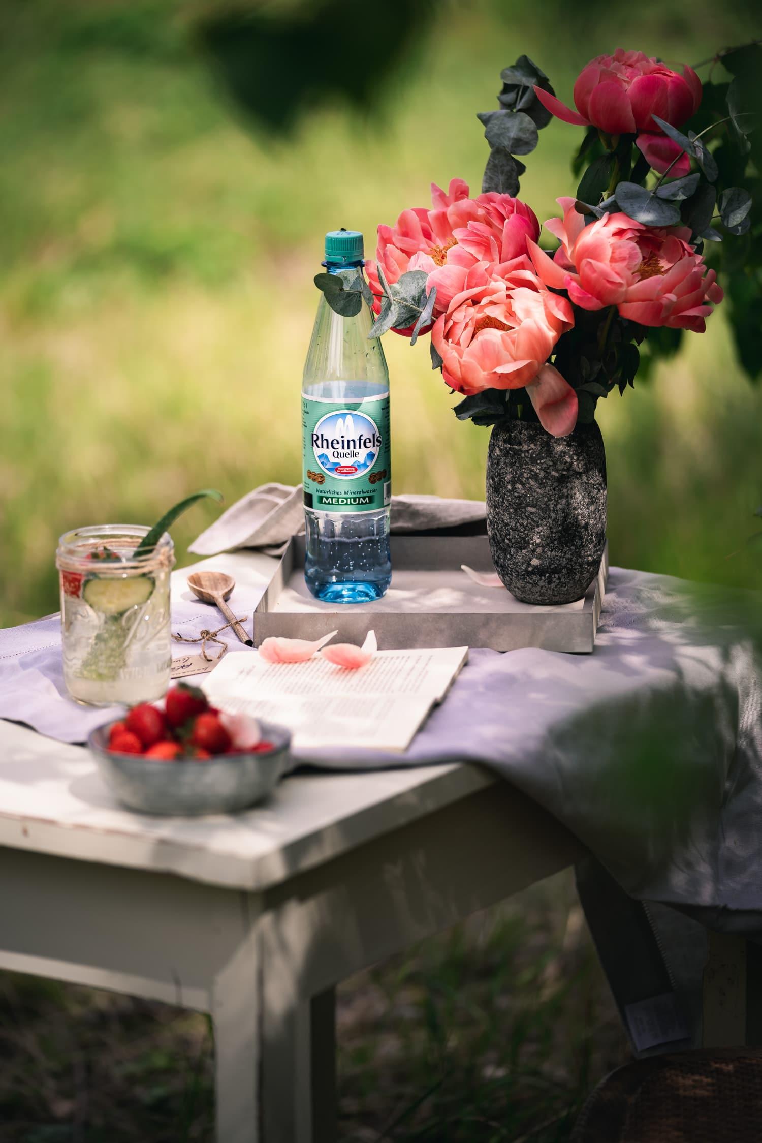 Der Rheinfels Quelle Sommer Drink: Aloe Vera Saft, Erdbeeren und Mineralwasser - Plantiful Skies