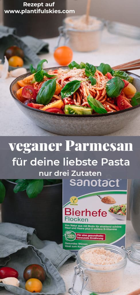 Veganer Parmesan Rezept aus nur drei Zutaten. Milchfreie Käsealternative. Veganen Käse selber machen . #parmesanvegan #veganerkäse #happymoodfood