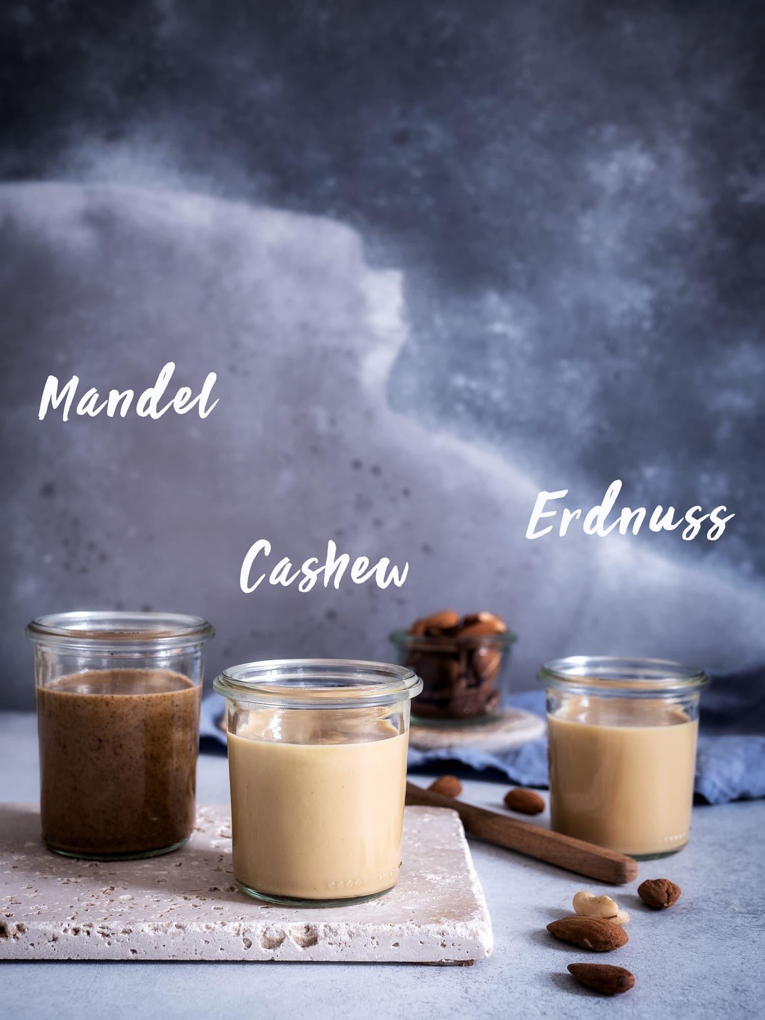 Nussmus aus Mandel, Erdnuss oder Cashew